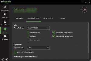 ipvanish vpn connection settings