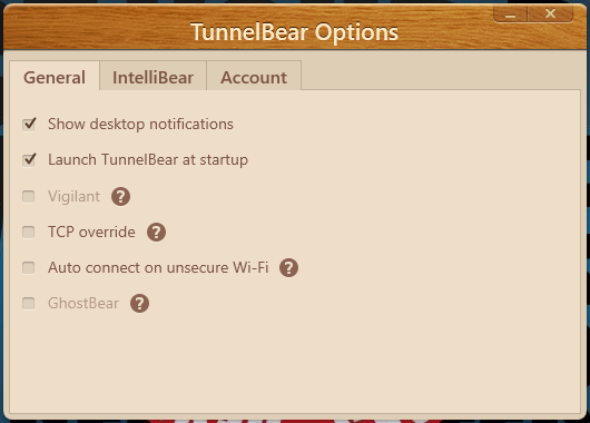 tunnelbear general options