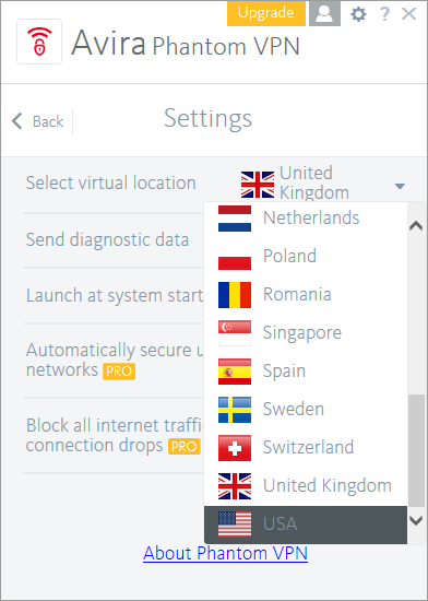 avira phantom vpn country selection