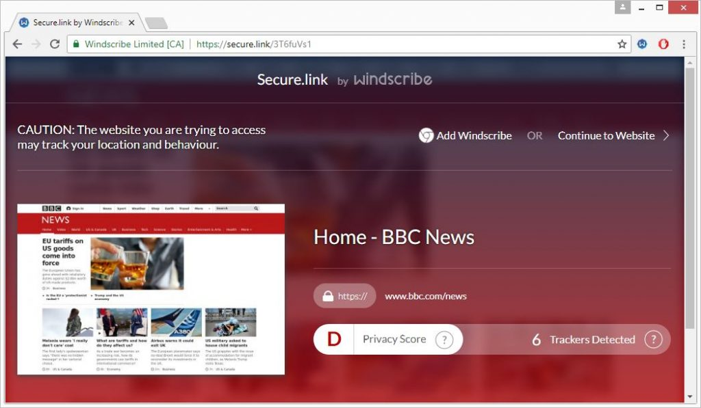 windscribe secure link bbc