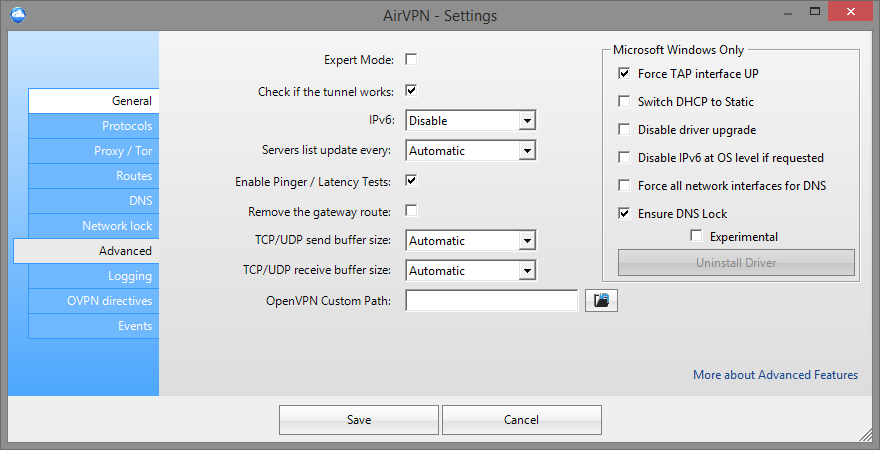 airvpn advanced settings