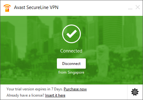 avast secureline interface on