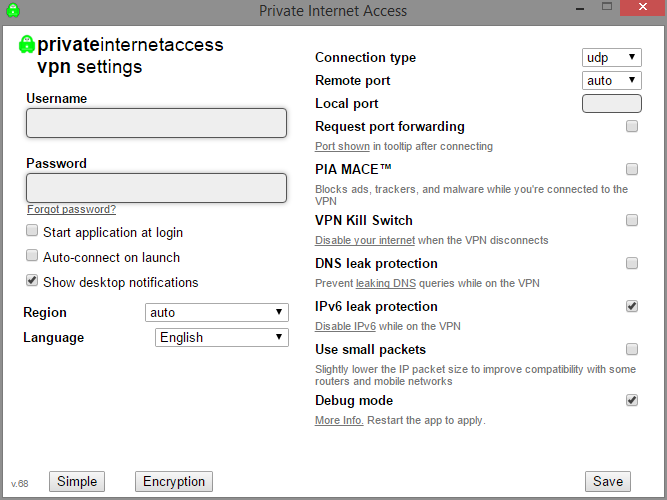 pia vpn settings