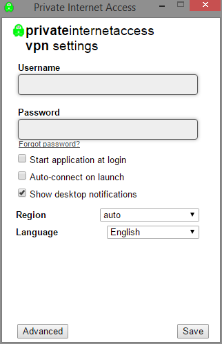 private internet access simple interface