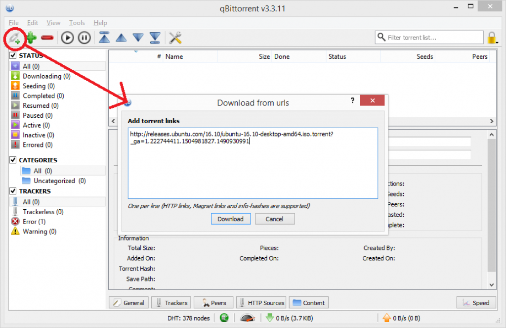 qbittorrent add torrent link