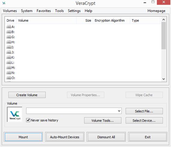 veracrypt interface