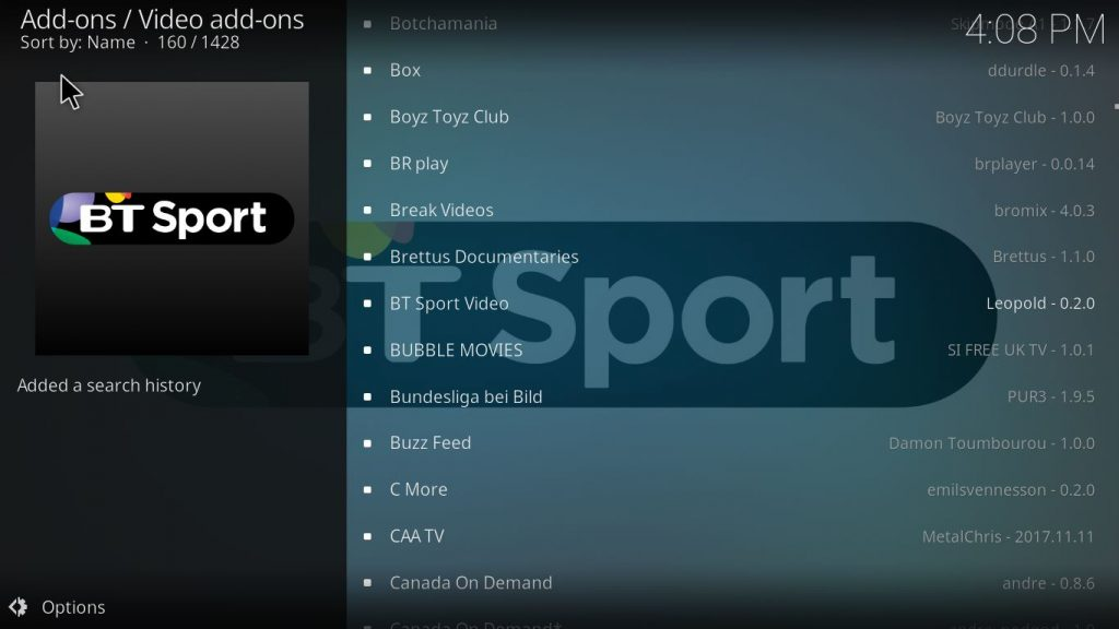 kodi add on bt sport
