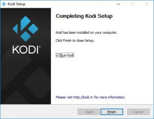 kodi finish installation