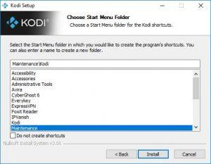 kodi start menu folder