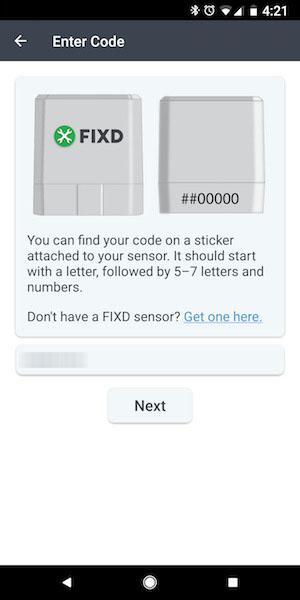 fixd sensor code