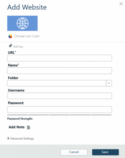 Add password for a website
